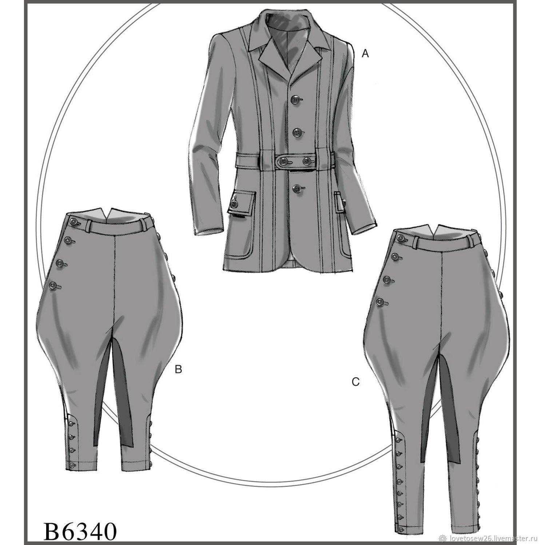 B6340 Выкройка Мужского костюма Пиджак Галифе Верховая езда – купить на Ярмарке Мастеров – IE36VRU   Выкройки для шитья, Санкт-Петербург