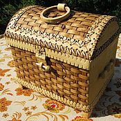 Для дома и интерьера handmade. Livemaster - original item Chest made of birch bark wicker large. Box for storage. Handmade.