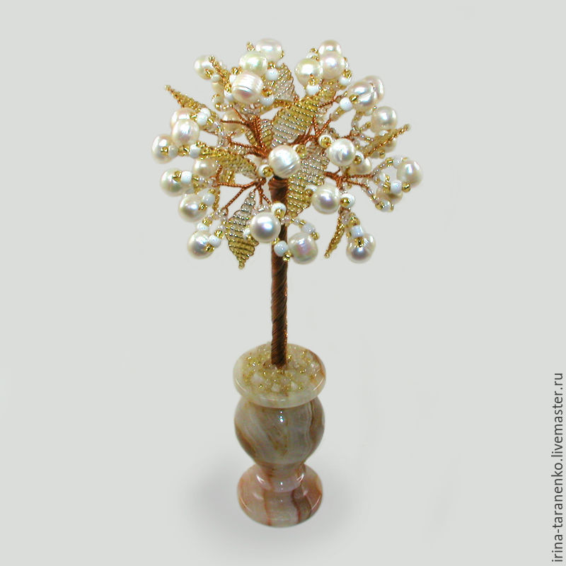 Tree of pearls `Wedding gift` in a vase of onyx