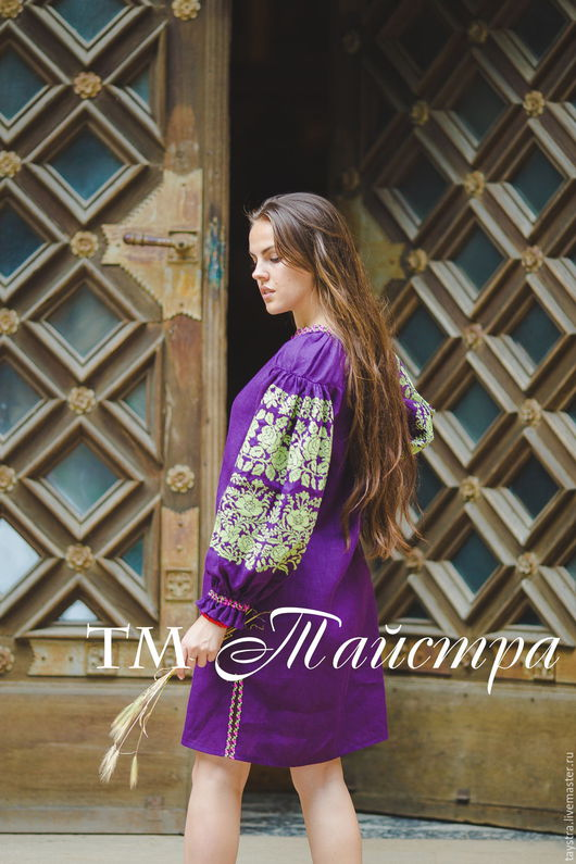 Платья ручной работы. Ярмарка Мастеров - ручная работа. Купить Вышитое женское платье, лен, бохо стиль ,Bohemian, этно. Handmade.