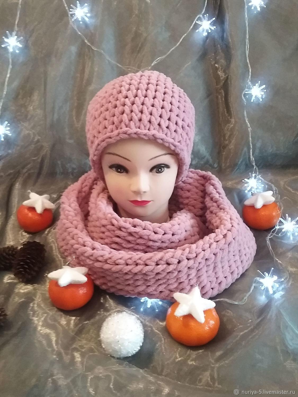 Комплект шарф и шапка пудра роза, Шарфы, Самара,  Фото №1