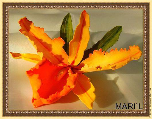 """Заколки ручной работы. Ярмарка Мастеров - ручная работа. Купить """"Орхидеи"""" фоамиран (броши, заколки). Handmade. Желтый, цветок"""