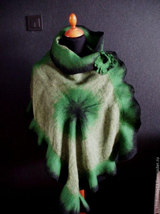 Шали, палантины ручной работы. Ярмарка Мастеров - ручная работа. Купить Палантин валяный Изумруд. Handmade. Зеленый, изумрудный цвет