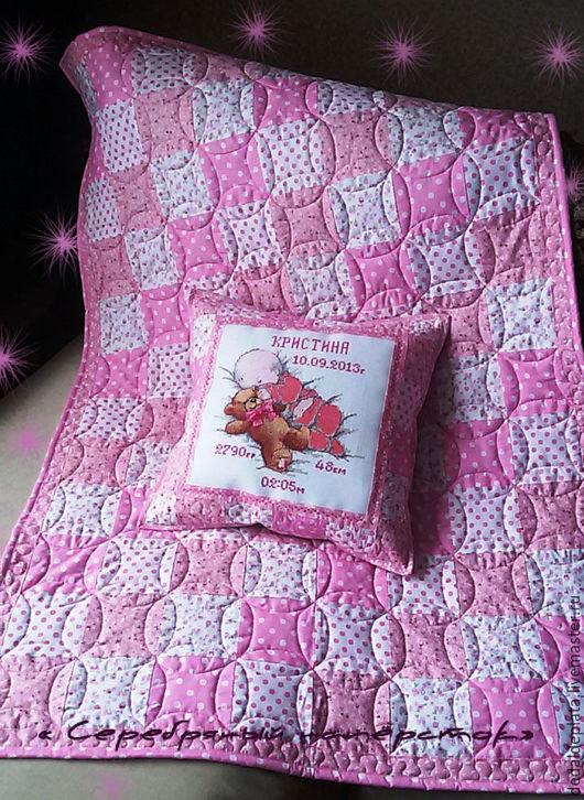 """Пледы и одеяла ручной работы. Ярмарка Мастеров - ручная работа. Купить Лоскутный комплект """" Пастила"""". Handmade. Розовый"""
