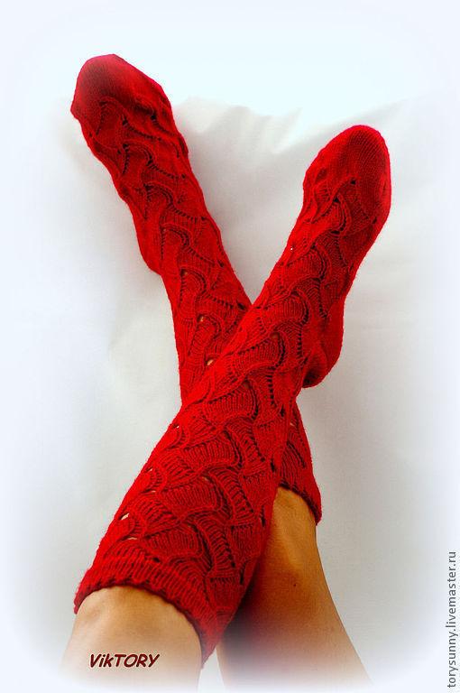 """Носки, Чулки ручной работы. Ярмарка Мастеров - ручная работа. Купить Гольфы """"Ножки в ажуре"""".. Handmade. Ярко-красный"""