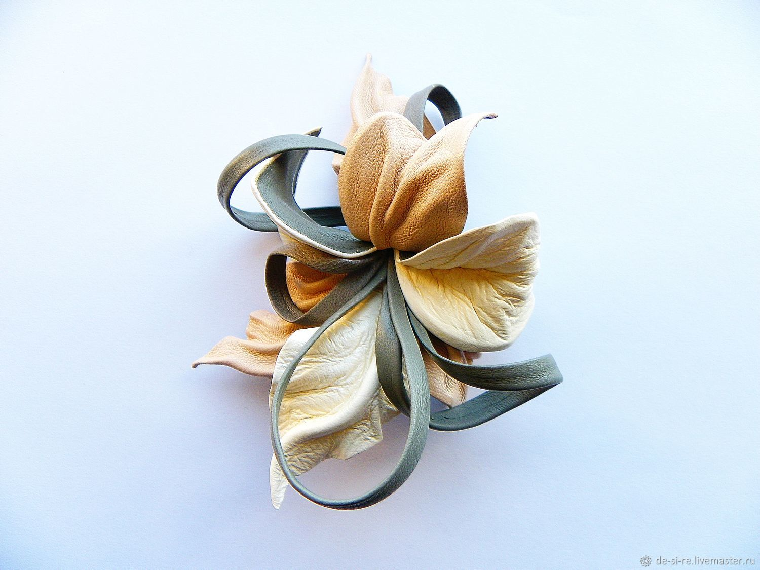 Brooch flower leather Orchid `Make-Up` Brooch on a bag, belt, hat, coat, fur coat, jacket, dress, sweater,scarf,shawl, scarf, tippet, outerwear. A gift to a woman, his beloved.