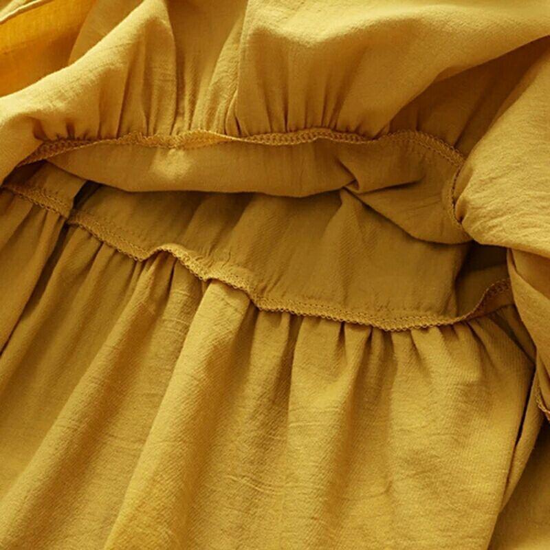 Платье хлопковое «Горчица»