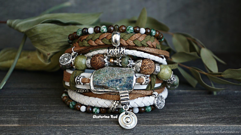 Leather bracelet made of jasper in the BOHO style ' Cloud-grass', Bead bracelet, Moscow,  Фото №1