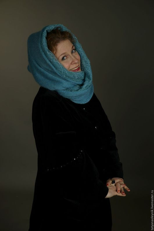 """Шарфы и шарфики ручной работы. Ярмарка Мастеров - ручная работа. Купить Шарф-снуд""""Голубые узоры"""". Handmade. Голубой, шарф-снуд"""