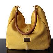 Сумки и аксессуары handmade. Livemaster - original item Crossbody bag: Yellow Suede Hobo Bag, Large Bag. Handmade.