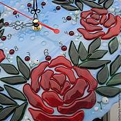 """Для дома и интерьера ручной работы. Ярмарка Мастеров - ручная работа Часы настенные из стекла """" Розовый куст"""" фьюзинг. Handmade."""