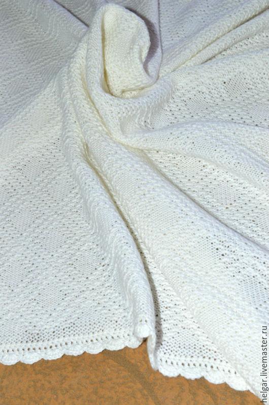 Пледы и одеяла ручной работы. Ярмарка Мастеров - ручная работа. Купить Вязаный плед для новорожденного ( на выписку и в коляску). Handmade.