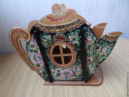 """Кухня ручной работы. Ярмарка Мастеров - ручная работа. Купить Чайный домик """" Сказочный чайник"""". Handmade. Черный, роспись"""