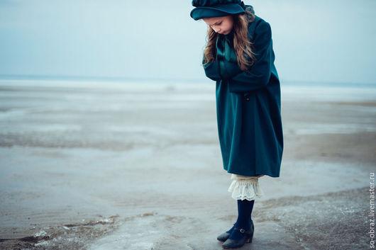 Одежда для девочек, ручной работы. Ярмарка Мастеров - ручная работа. Купить Пальто для девочки в викторианском стиле. Handmade. Морская волна