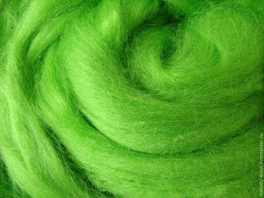 Валяние ручной работы. Ярмарка Мастеров - ручная работа. Купить Шелк Тусса. Цвет Мята (Mint). Handmade. Ярко-зелёный