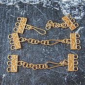 Крупная застежка на 3 нити с цепочкой, позолоченное серебро