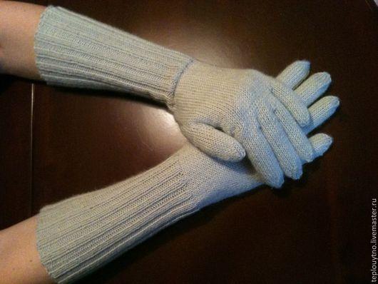 Варежки, митенки, перчатки ручной работы. Ярмарка Мастеров - ручная работа. Купить Перчатки вязаные длинные. Handmade. Серый