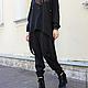 R0041A Брюки черные брюки модные брюки дизайнерские брюки женская одежда свободные брюки стильные брюки шерстяные брюки свободные брюки на резинке элегантные брюки штаны с мотней дизайнерские брюки