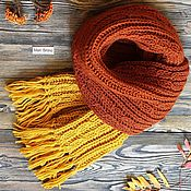 Аксессуары handmade. Livemaster - original item Long knitted scarf with fringe. Handmade.