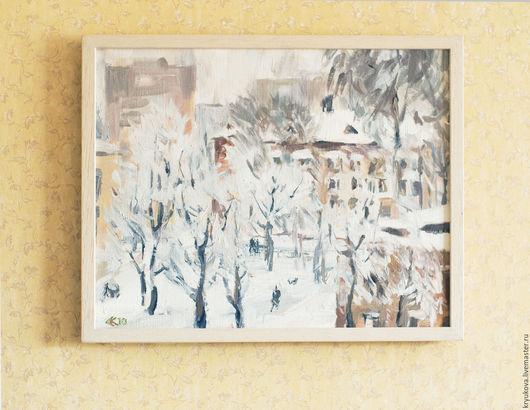 Картина маслом Зимний пейзаж Картина зима пейзаж Городской пейзаж на холсте маслом Город зима дома деревья Картина зима маслом