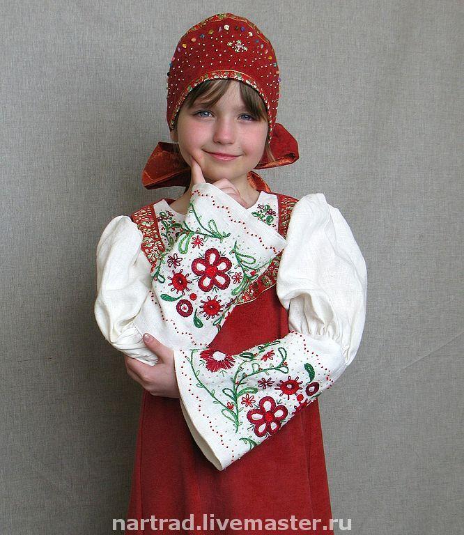 Платье для куклы в русском стиле
