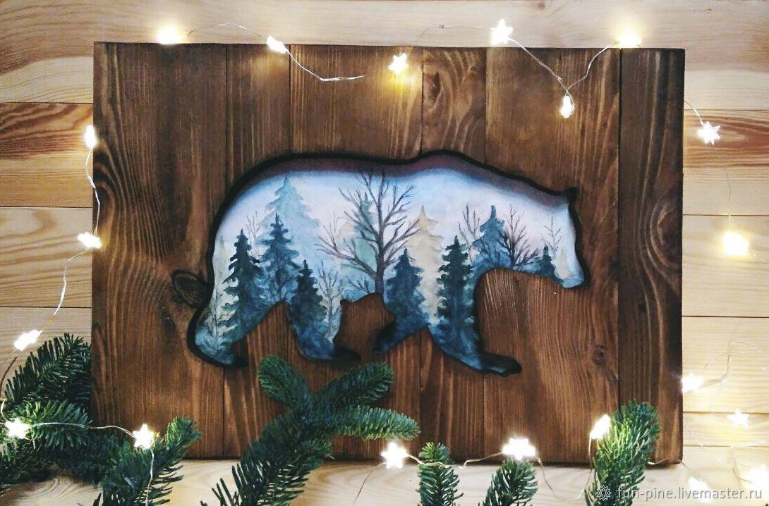 Картина панно медведь из дерева, Картины, Москва,  Фото №1