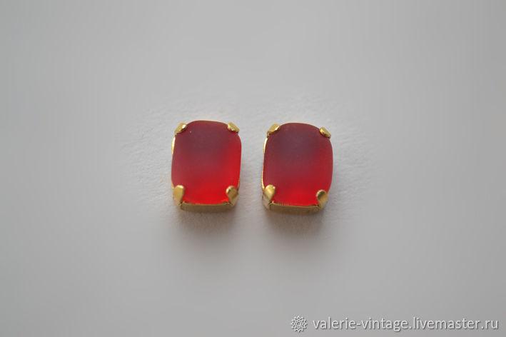 Vintage rhinestones 10h8 mm color Ruby Matt, Crystals, Moscow,  Фото №1