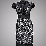 handmade. Livemaster - original item Crochet dress Keira. Black handmade lace women cocktail dress. Handmade.