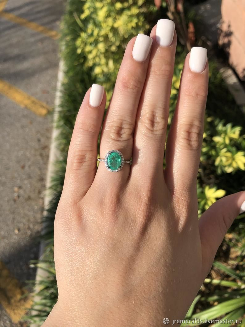 2.14tcw Natural Emerald Oval & Diamond Halo Engagement Ring 14K, Rings, West Palm Beach,  Фото №1