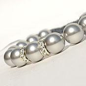 Украшения handmade. Livemaster - original item Shamballa bracelet with pearls and Swarovski crystals. Handmade.