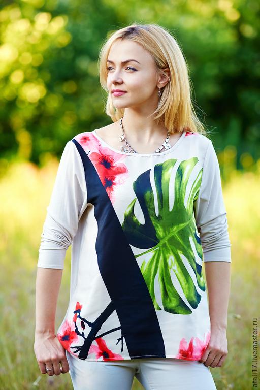 Блузки ручной работы. Ярмарка Мастеров - ручная работа. Купить Блуза Сакура 2- шелк/ трикотаж. Handmade. Блуза из шелка