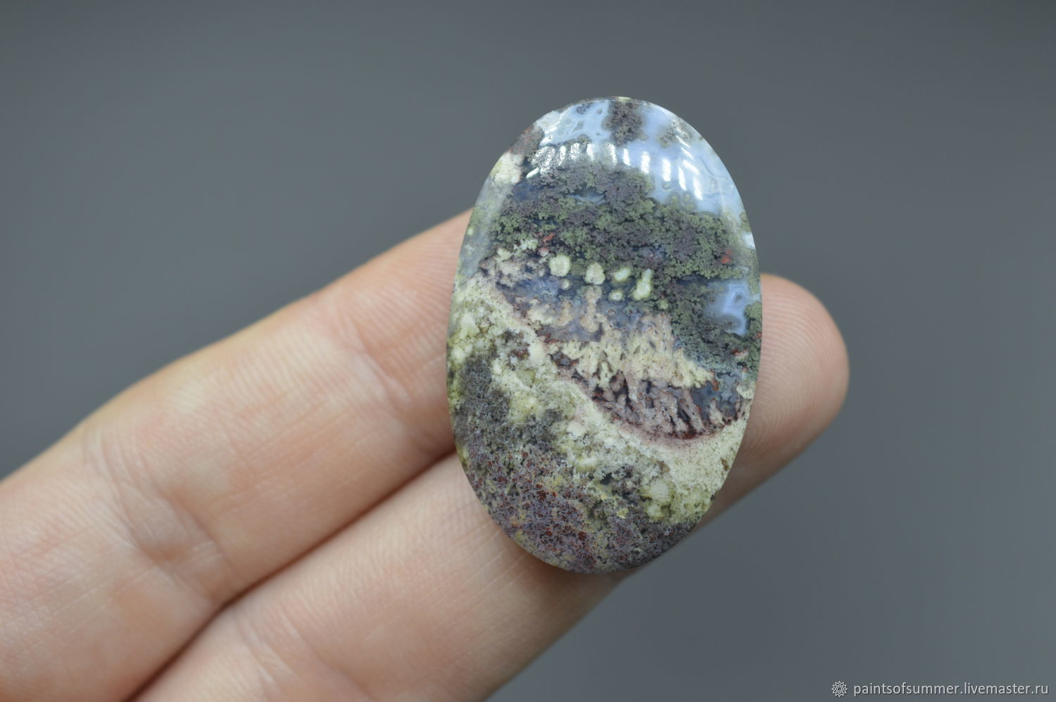 Indonesian moss agate. Cabochon 36h24h6, Cabochons, Moscow,  Фото №1