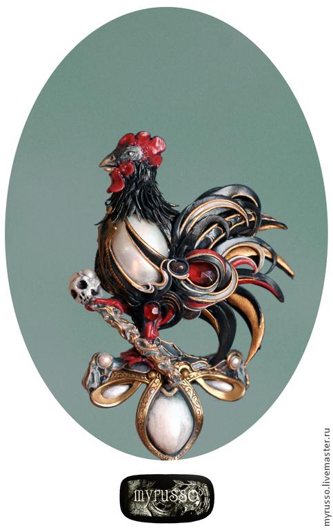 Броши ручной работы. Ярмарка Мастеров - ручная работа. Купить la poule noire.. Handmade. Черный, птица, барочный жемчуг