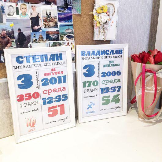 Детская ручной работы. Ярмарка Мастеров - ручная работа. Купить Постер метрика. Handmade. Метрика детская, постер в детскую, постер