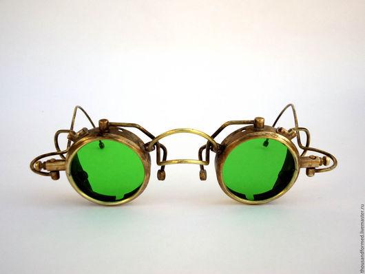 """Аксессуары ручной работы. Ярмарка Мастеров - ручная работа. Купить Стимпанк-очки """"Inngreen"""". Handmade. Золотой, очки пилота, маска"""