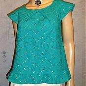 Одежда ручной работы. Ярмарка Мастеров - ручная работа Блуза (топ) из шитья ( бирюзовая). Handmade.