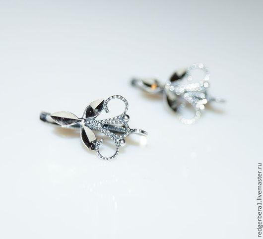 """Для украшений ручной работы. Ярмарка Мастеров - ручная работа. Купить Швензы с алмазной гранью """"Трилистник"""" - серебрение 925 пробы. Handmade."""