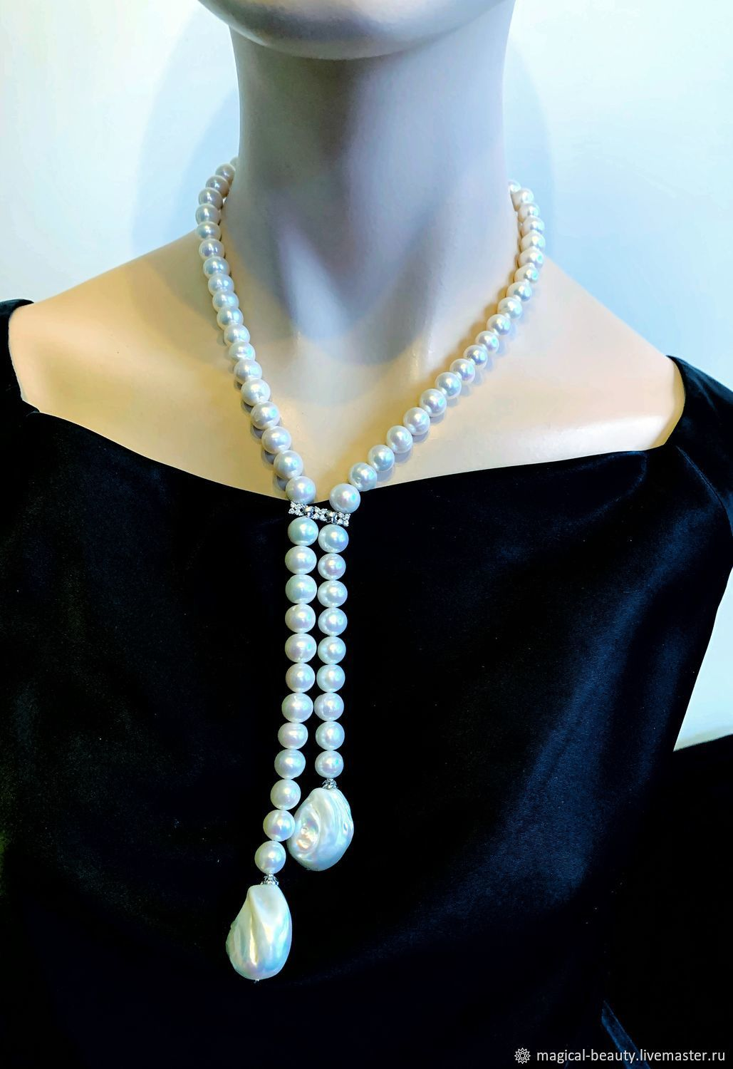 Pearl necklace tie with Baroque pearls, Necklace, Moscow,  Фото №1