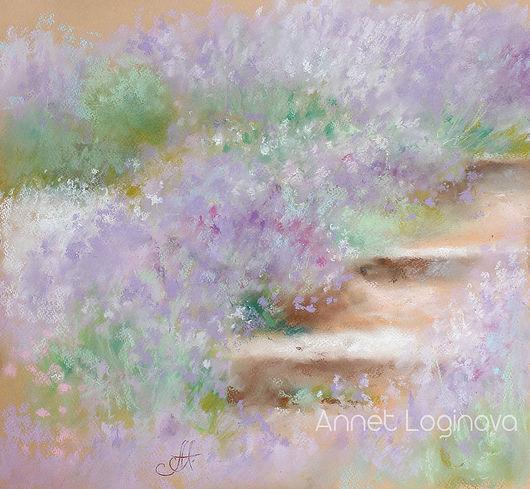 Пейзаж ручной работы. Ярмарка Мастеров - ручная работа. Купить Лиловые травы. Handmade. Воздушный, картина в спальню, пастельная живопись