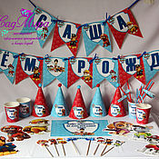 Подарки к праздникам ручной работы. Ярмарка Мастеров - ручная работа набор полиграфии для декора дня рождения в стиле Щенячий патруль. Handmade.