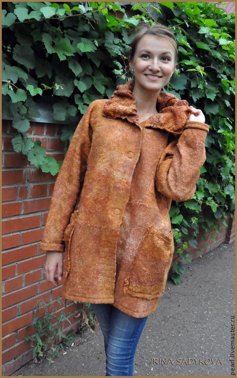 """Верхняя одежда ручной работы. Ярмарка Мастеров - ручная работа. Купить Пальто """"Осень"""". Handmade. Рыжий, нуновойлок, кожаный шнур"""