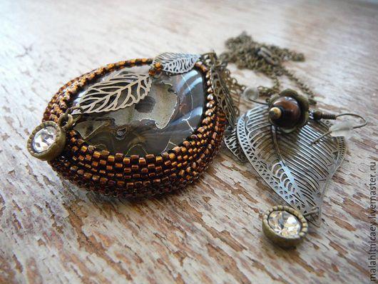 Комплект украшений из бисера  и камней Ноябрьский ноктюрн