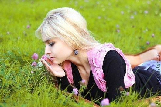 летнее войлочное болеро из нежнейшего мериноса розового цвета