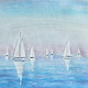 картина, картина акварелью, морской пейзаж, картина море,  акварельная картина, акварель морской пейзаж,ursula-f,море, море-море, акварель парусники, голубой, сиреневый, бирюзовый,