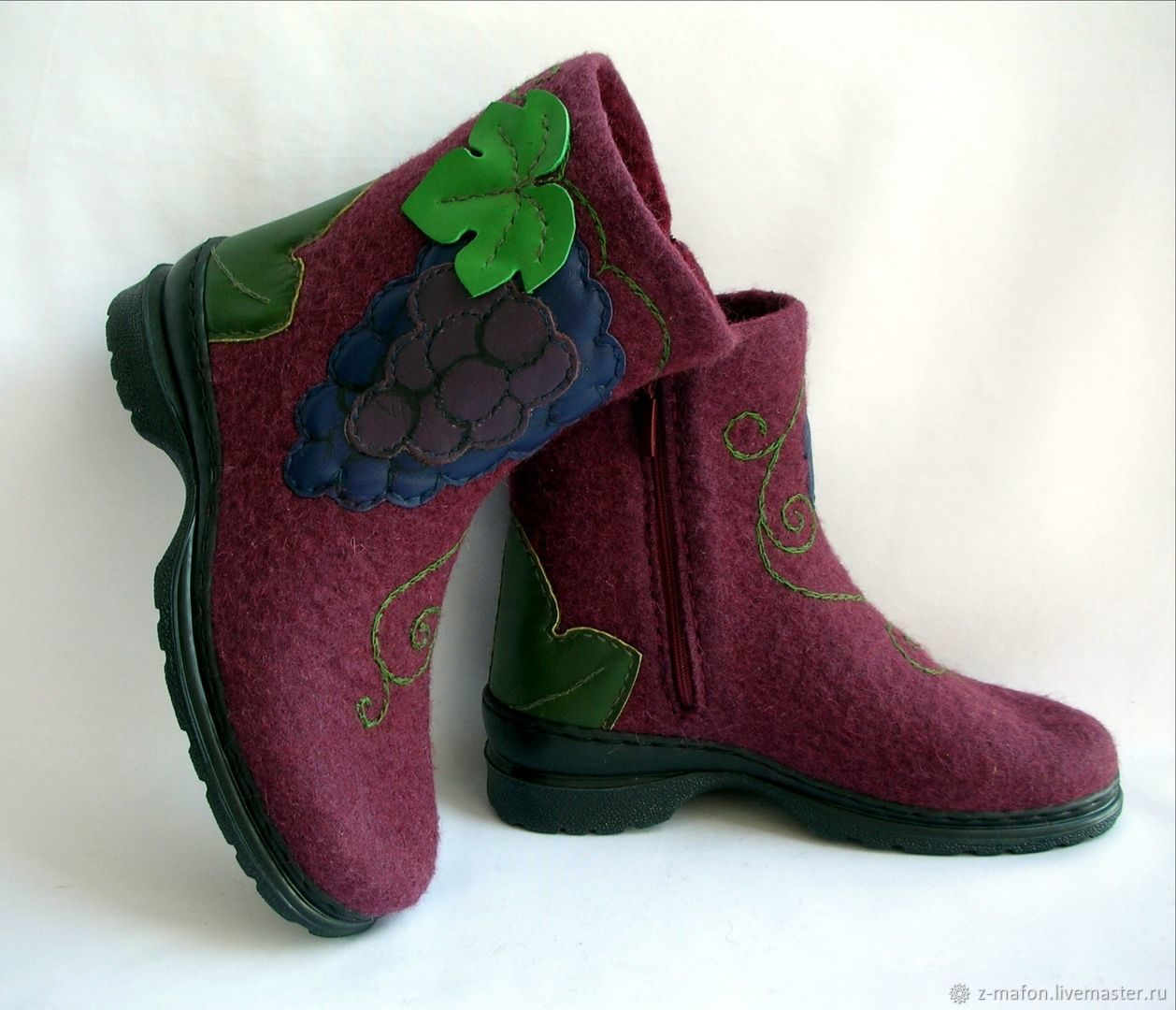 Ankle boots whole-felted Grapes on the lock, Ankle boots, Tomsk,  Фото №1