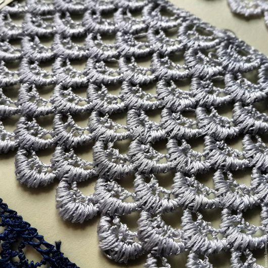 Аппликации, вставки, отделка ручной работы. Ярмарка Мастеров - ручная работа. Купить Кружево плетеное синее, белое, серое. Handmade.