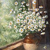 Картины и панно handmade. Livemaster - original item Oil painting of Daisies on the window still life. Handmade.