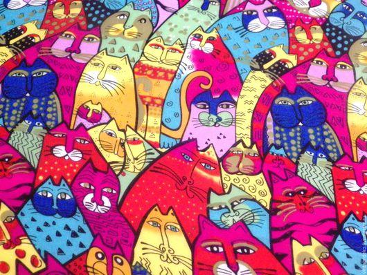 Шитье ручной работы. Ярмарка Мастеров - ручная работа. Купить Лорель Берч разноцветные коты - шифон. Handmade. Комбинированный, коты