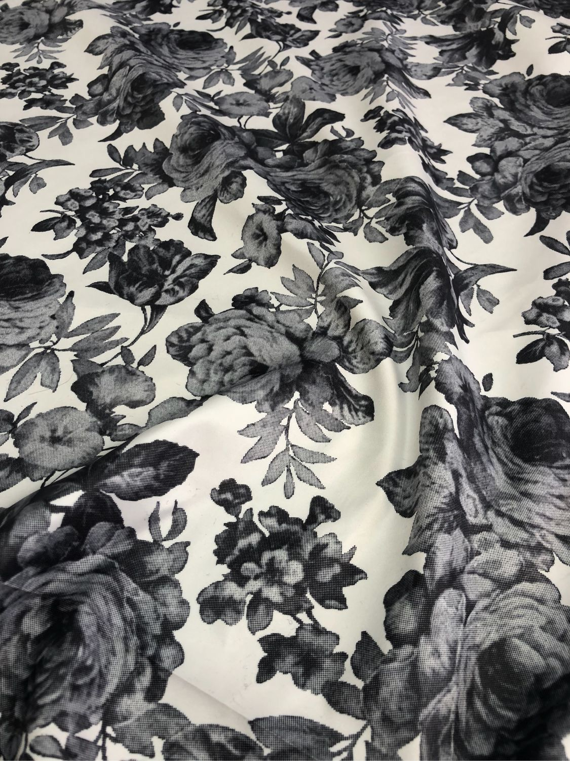Raincoat fabric ' Gray-white roses', Fabric, Taganrog,  Фото №1