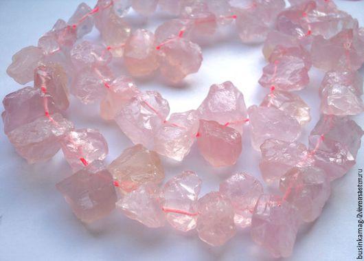 Для украшений ручной работы. Ярмарка Мастеров - ручная работа. Купить Розовый кварц камни фриформ, 14-20мм, нитка 19-20шт. Handmade.